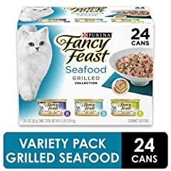 Make mealtime a memorable occasion when you serve Purina Fancy Feast Grilled Seafood Feast Collection wet cat food. Tender cuts of fish and seafood deliver the ocean flavors cats crave, and the tender texture of this soft cat food entices you...