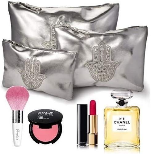 Conjunto de cuero de hacer Up Oriental plata 3 bolsas: Amazon.es: Belleza