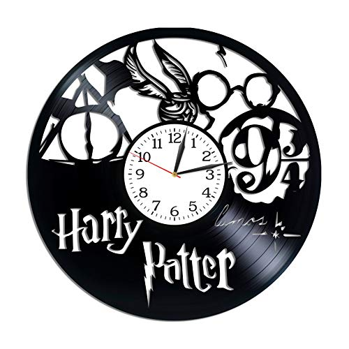 Kovides Harry Potter Room Art Lp Vinyl Retro Record Wall Clock Vintage J.K. Rowling Gift Birthday Gift for Fan Harry Potter Clock Movie Art Xmas Gift Idea