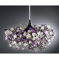 Purple Chandeliers - Purple Flower Ceiling Lights for Bedroom, Living Room, Entrance Lighting - Hanging lampshades for the home