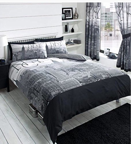 2130ac2f810 Contemporary New York City Skyline- Printed Bedding Duvet Cover Set in Black  & Grey (King Size): Amazon.co.uk: Kitchen & Home