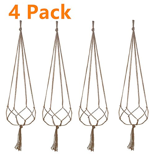 Plant Hanger, 4 Pieces Hanging Planter Flower Pot Plant Holder Basket Jute Rope Holder for Indoor Outdoor Garden Home Decorations by Fezep