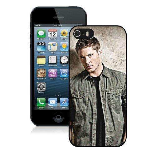 Supernatural Actors Jared Padalecki Jensen Ackles Sam Winchester Dean Winchester Black iPhone 5S Cover Case,Beautiful (Jensen Button)