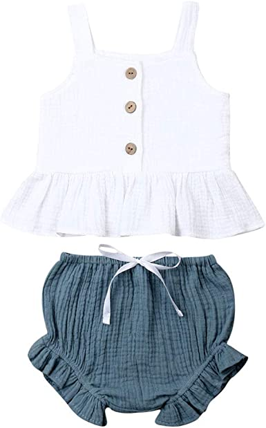 Toddler Kids Baby Girl Vest Tops T shirt+Short Pants Trousers Outfit Set Clothes