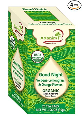 "(Adanim Bio ""Good Night's Rest"" Organic Lemon Verbena, Lemongrass and Orange Flowers Herbal Tea Blend Infusion, 20 Individually Wrapped Herbal Tea Bags Each, 80 Herbal Tisane Bags in Total, Pack of 4)"