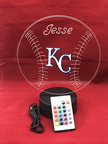Royals MLB Light Up Lamp LED Personalized Free Kansas City Baseball KC Light Desk Lamp LED Table Lamp, Our Newest Feature - It's Wow, with Remote, 16 Color Options, Dimmer, ()