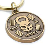 Shut Up and Lift - Weightlifting, Fitness and Cross Fit Gift - Kettle Bell Skull and Barbell Crossbones - Motivational Medallion Keychain