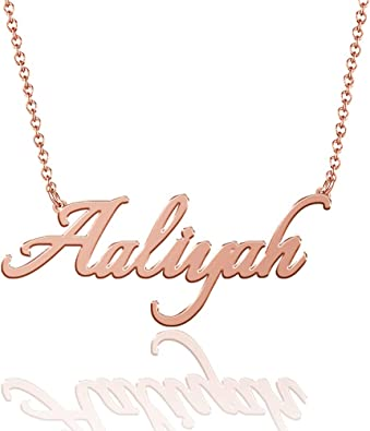 Nameplate, Gifts for Her 14k White Gold Birthday Gift Personalized Custom Name Necklace Bridesmaid Gifts 14k Gold