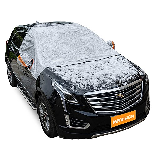 Universal Fit Windshield Snow Cover and Frost Cover for Cars, SUVs, & Vans with Separate Rear Mirror Cover, Cotton Lined PEVA Fabric with Aluminum Lamination, Not Fits Full-size Trucks