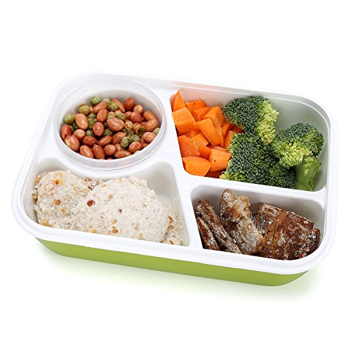 bento box lunch box 3 compartment 1 bowl 4 in 1 1 spoon silicone leakproof healthy lunch. Black Bedroom Furniture Sets. Home Design Ideas