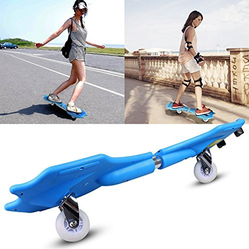 Dtemple Caster Board Plastic Deck Skateboard With Light Up Wheels and Carrying Bag, for Kids Teens and Youth (Blue, US Stock)