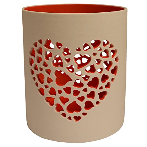 Photophore Saint Valentin à motifs Photophore Nordic Light Grand cœur rouge
