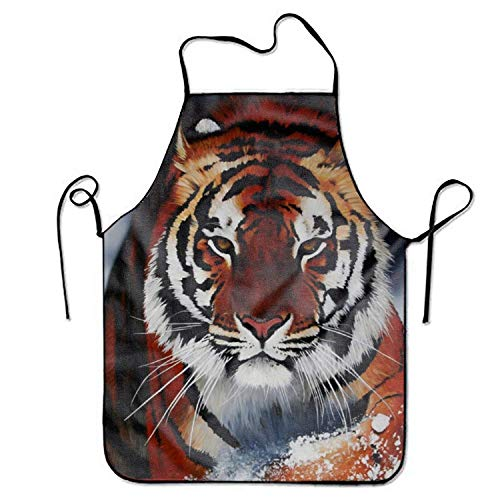Jbralid Bib Winter Tiger Apron for Kitchen Garden Cooking Grilling Great Gift Creative Design Waterproof -