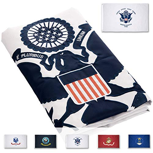 FBNC US Coast Guard Flag 3x5 Ft Durable Nylon Double Sided Embroidered USCG Flag with Brass Grommets
