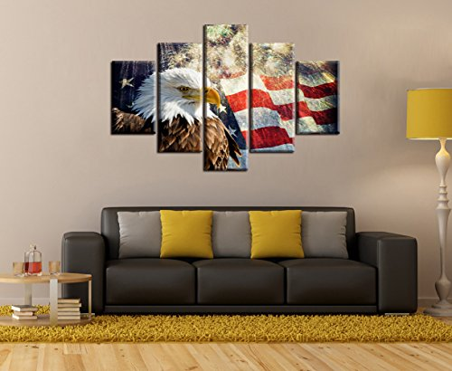 American Flag with Eagle Painting on Canvas Patriotic Concept Home Firework Wall Decor Independence Day Red Yellow Artwork 5 Panel Multi PCS USA Giclee for Living Room Stretched Frame (60''W - American Flag Frames