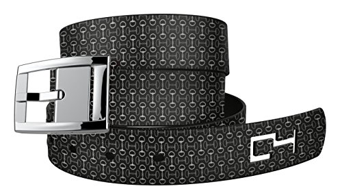 C4 Equestrian Belt: Black Bits n Pieces Strap/Silver Chrome Buckle - Equestrian Horseback Riding Belt for Women ()
