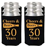 Shop4Ever Cheers & Beers to 30 Years Can Coolie Birthday Drink Coolers Coolies