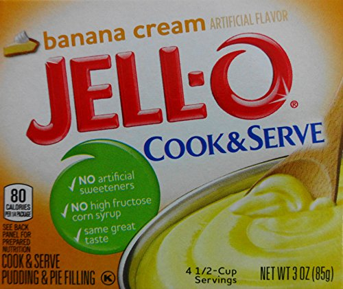 Jell-O Banana Cream Instant Cook & Serve Pudding (3 Pack) (Mix Pie Cream)