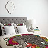 Deny Designs Valentina Ramos Ruby The Elephant Duvet Cover with pillow Shams, Queen