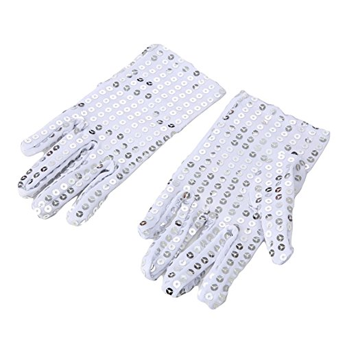 Ztl Child Sparkling Sequin Gloves Michael Jackson Costume Gloves for Party Dance, Silver, One Size -