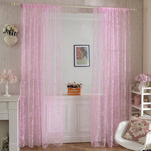 Flocked Door Window Drape Voile Butterfly Curtain 3 Colors ()