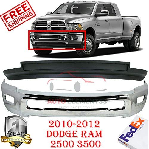 Front Bumper for 2010-2012 Dodge Ram 2500 3500 4WD Lower Valance Laramie/Outdoorsman/SLT/TRX/SXT Air Dam W/fog Hole Chrome Direct Replacement Set of 2 CH1002390 CH1090141