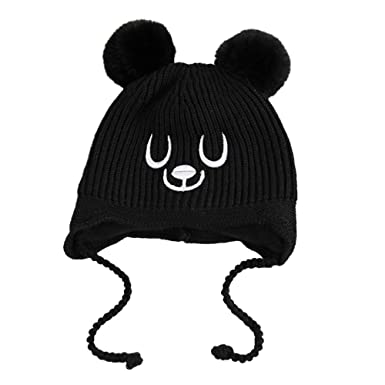 CATSAP Baby Crochet Beanie Knit Pompom Hats with Earflaps Girl Boy Infant  Winter Warm Cap Lined 2ae4bfc9266d