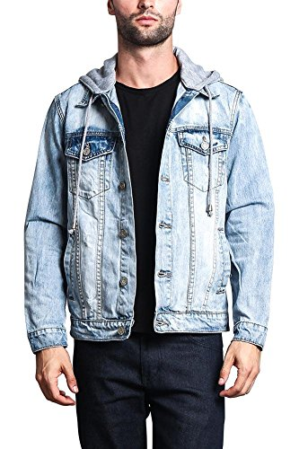 G-Style USA Hoodie Layered Distressed Denim Jacket with Removable Hood DK109 - ICE - Medium - EE1F by Victorious