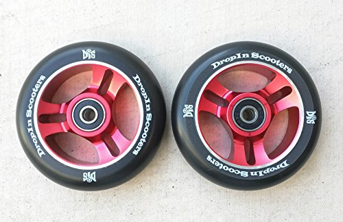 DIS 100mm Red 5-spoke Metal Core Scooter Wheels with Bearings (2 Wheels)