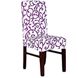 Super Fit Stretch Removable Washable Short Dining Chair Cover Protector Seat Slipcover for Hotel, Dining Room, Ceremony, etc (White Purple)
