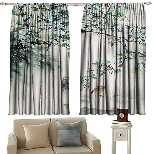 Mannwarehouse Bedroom windproofcurtain Beautiful View of The Mountains Set of Two Panels 55