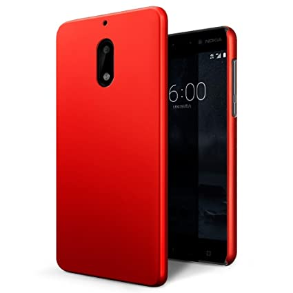 purchase cheap e4de8 83ca2 Johra Rubberised Matte Hard Back Red Back Case for Nokia 6 Back Cover