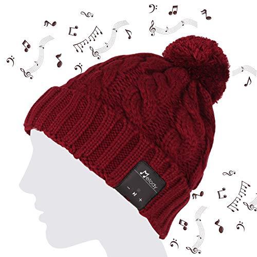 Coeuspow Bluetooth Beanie Hat 4.2 Wireless Smart Beanie Headset Music Cap Music Beanie Hat with HD Stereo Speaker,Built-in Mic, 100% Soft Acrylic,Hand Free for Women Girls Running Skiing Skating (Red)