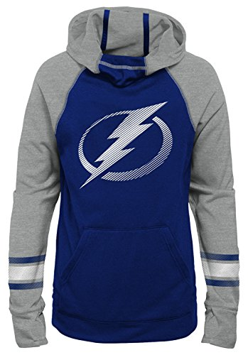 Outerstuff NHL Tampa Bay Lightning Youth Girls Female Forward Funnel Neck Hoodie, Medium(10-12), Dark Blue