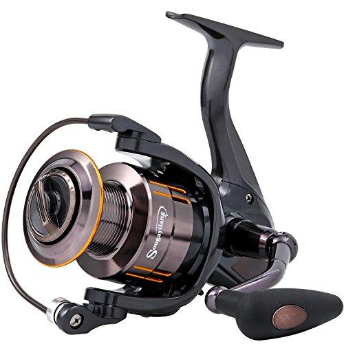 Spinning Fishing Reel (Sougayilang Spinning Fishing Reel 13+1 BB Light Weight Ultra Smooth Powerful Spinning Reels for Saltwater Freshwater Fishing (Black, 13+1BB 2000 Series))