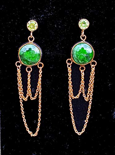 14k Diopside Ring - CHROME DIOPSIDE PERIDOT AND 14K GOLD FILLED CHANDELIER EARRINGS