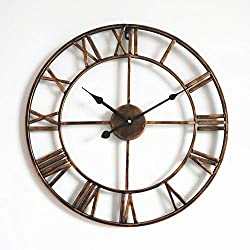 MUZIDP Retro Wall Clock,Wrought Iron Hollow Antique Living Room Office Round Classic Clock,Decorative Wall Clock-K 50cm(20inch)