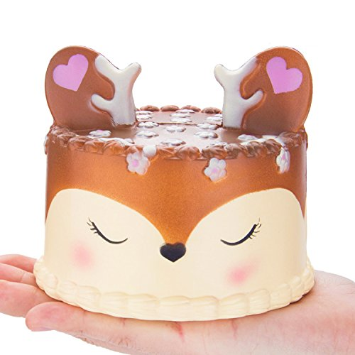 R • HORSE Jumbo Squishy Kawaii Cute Deer Mousse Cream Scented Squishies Slow Rising Kids Toys Doll Stress Relief Toy Hop Props, Decorative Props Large (Deer Cake)