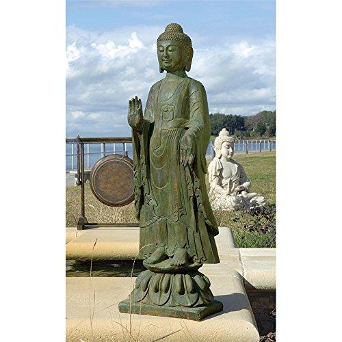 Design Toscano JE142050 Enlightened Buddha Asian Decor Garden Statue, 40 Inch, Bronze Verdigris Finish