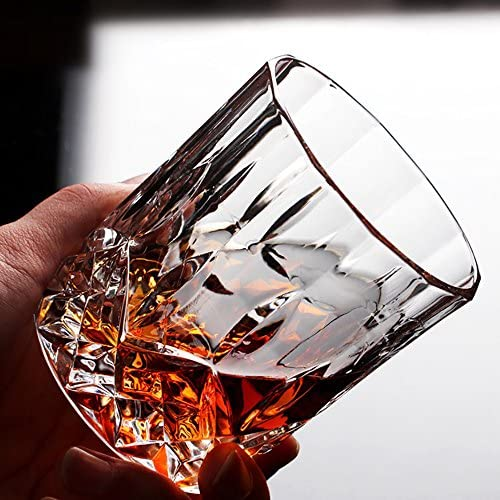 Lead-free Crystal Whiskey Glasses Double Old Fashioned Glasses Set of 6 Scotch Glasses Liquor Bourbon Tumblers for Scotch Whisky Drinking 7oz Glasses Ultra-Clarity Glass Drinkware G210CR