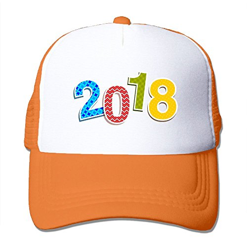 CLICKEN Unisex 2018 New Year's Eve Hip-Hop Summer Mesh Cap Orange