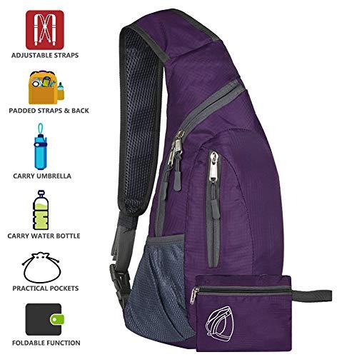 Peicees Sling Bags Men Women Shoulder Backpack Mini Chest Day Bag Kids Small Cross Body(Purple) ()