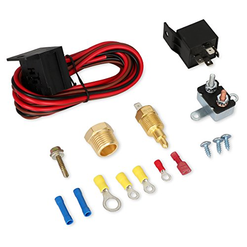 - 175-185 Degree Electric Cooling Fan Thermostat Kit Temperature Sensor Temperature Switch 60 AMP Relay Kit - 2 Yr Warranty