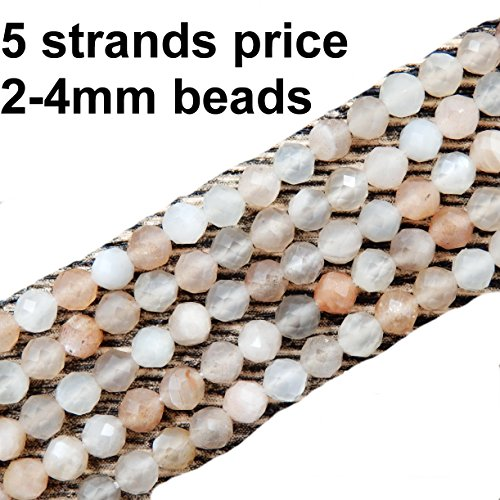 Hand Faceted Beads - 2-4mm Faceted Gemstone Beads for Jewelry Making, Sold per Bag 5 Strands Inside (Mix-Color Moonstone, 2mm)