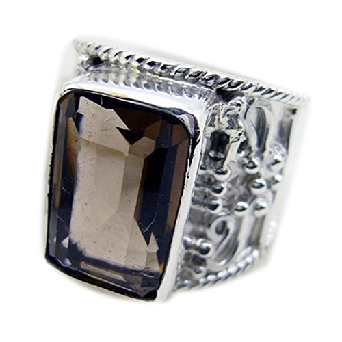 55Carat Vintage Real Smoky Quartz Sterling Silver Ring for Women Emerald Cut Size 4,5,6,7,8,9,10,11,12 (Smoky Quartz Faceted Ring Oval)