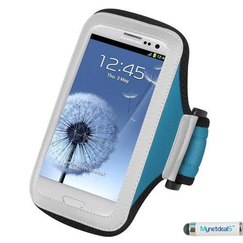 Premium Sport Armband Case for Kyocera Hydro VIBE - Light Blue + MYNETDEALS Mini Touch Screen Stylus
