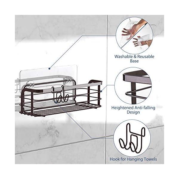 513FlUyBZkL Avoalre Duschkorb ohne Bohren Duschablage Selbstklebend Duschkorb 2 Pack Badablage mit Saughaken, Bronze Dusche Ablage