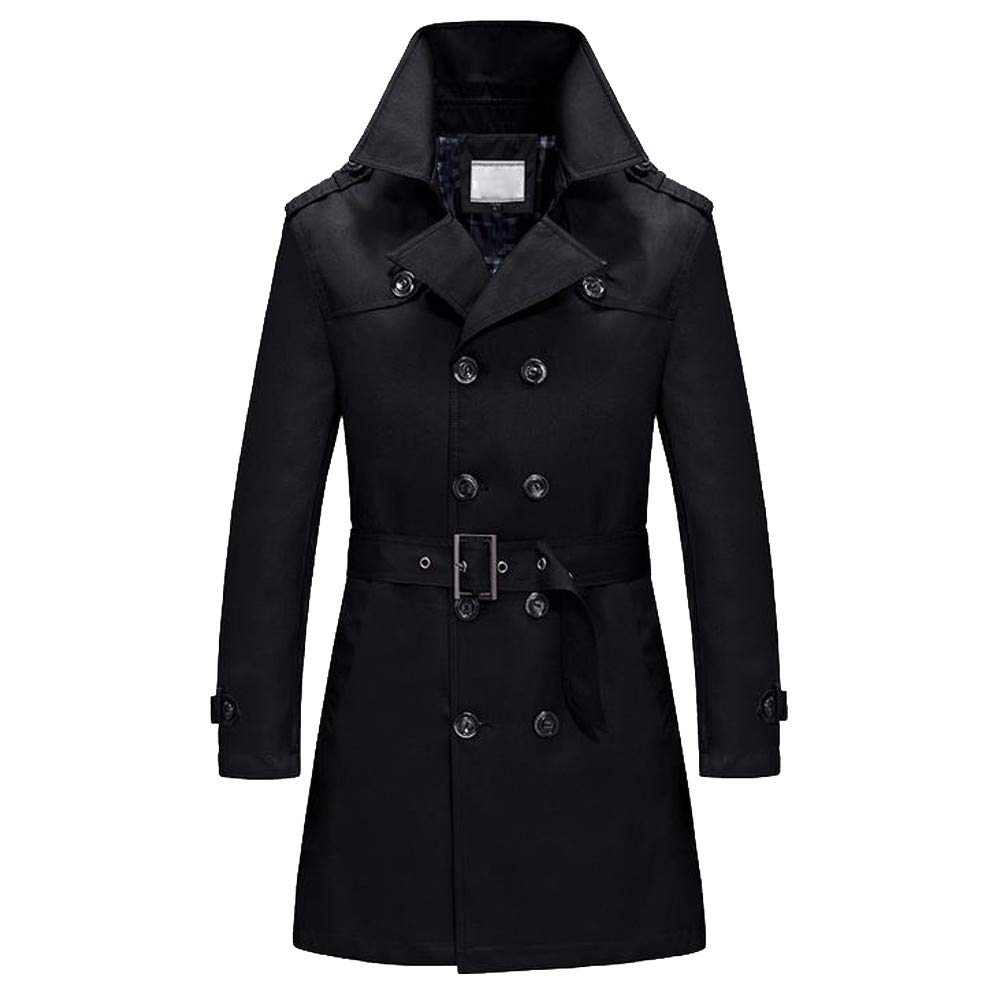 Gallity Mens Jackets Coat, Men's Long Overcoat Winter Warm Slim Fit Double Button Outwear with Belt (5XL, Black) by Gallity