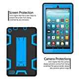 SMYTShop For Amazon Kindle Fire 7 Inch,SMYTShop Dual Layer Hybrid Armor Stand Case Protective Cover for Amazon Kindle Fire 7 Inch (2017) Tablet (Black+Blue)