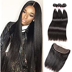 ZILING Brazilian Straight Virgin Hair Lace Frontal Closure with Bundles Natural Black Straight Human Hair Weave 4 Bundles with Closure (10 12 12 w 10)